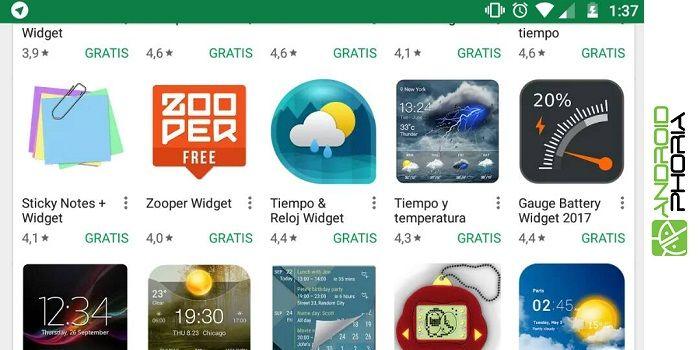 Widgets Android utilidad