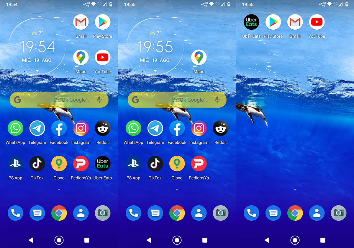 Widgets y accesos directos Android pantalla principal