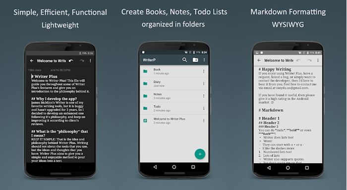 Writer Plus app