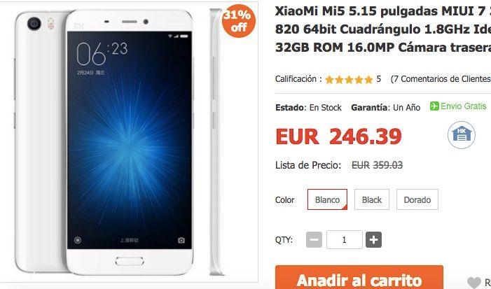 XiaoMi Mi5 por 205 euros en Igogo