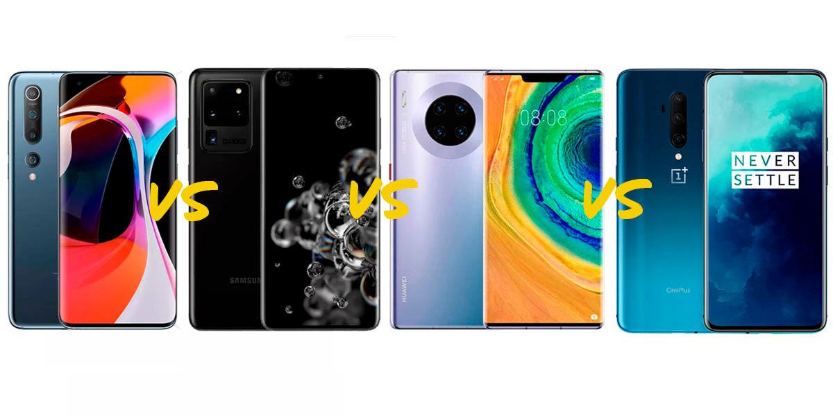 Xiaomi Mi 10 Pro vs Samsung Galaxy S20 Ultra vs Huawei Mate 30 Pro 5G vs OnePlus 7T Pro