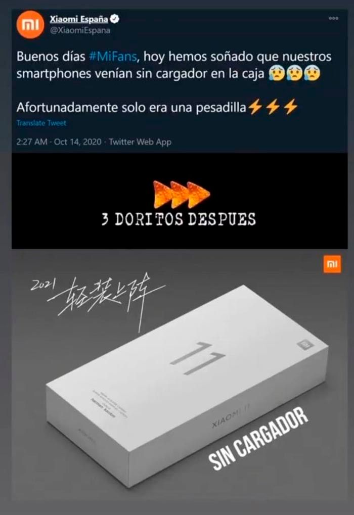 Xiaomi Mi 11 meme sin cargador