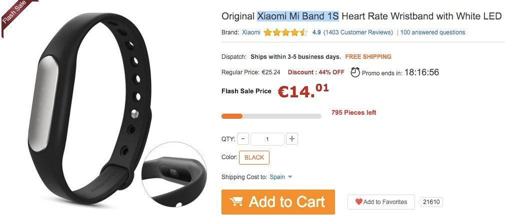 Xiaomi Mi Band 1S por 14 euros