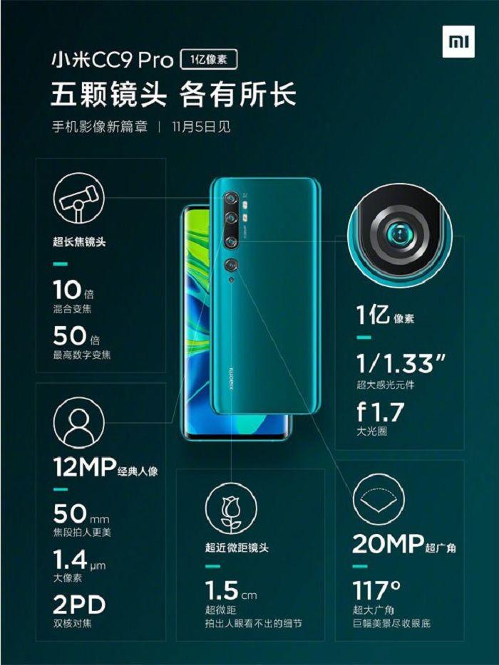 Xiaomi Mi Note 10 (CC9 Pro) penta camara