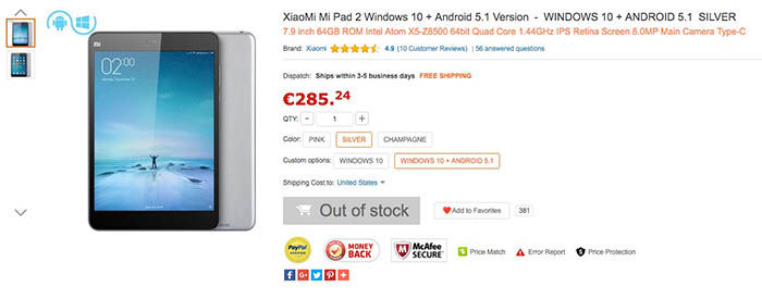 Xiaomi Mi Pad 2 con dualboot