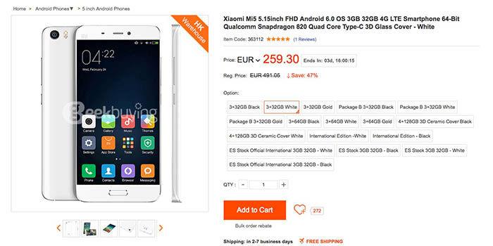 Xiaomi Mi5 barato