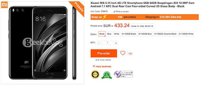 Xiaomi Mi6 mejor precio