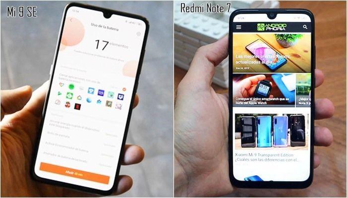 Xiaomi Redmi Note 7 vs Xiaomi Mi 9 SE diseños pantallas