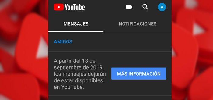 YouTube elimina mensajes directos