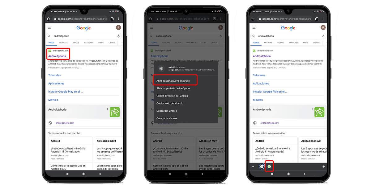 abrir nueva pestana grupo google chrome android