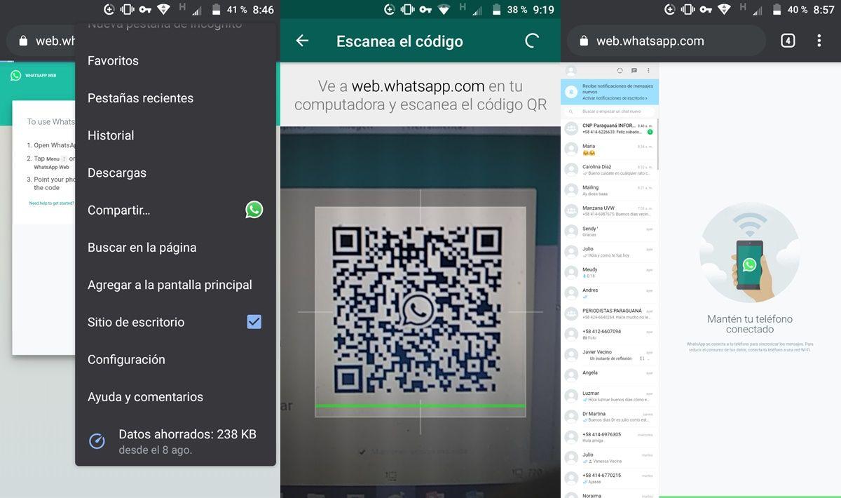 abrir whatsapp web otro android desde el navegador