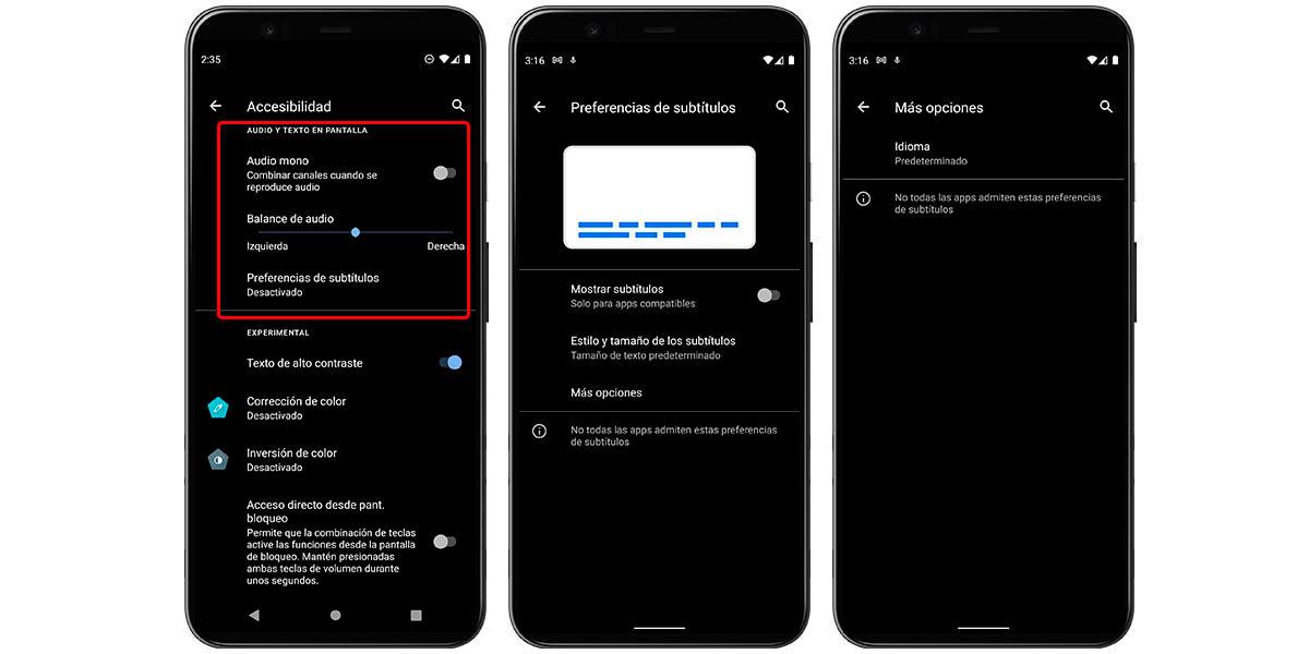 accesibilidad de audio y texto en pantalla android