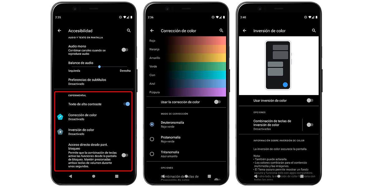 accesibilidad para daltónicos android