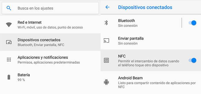 activar NFC en Android