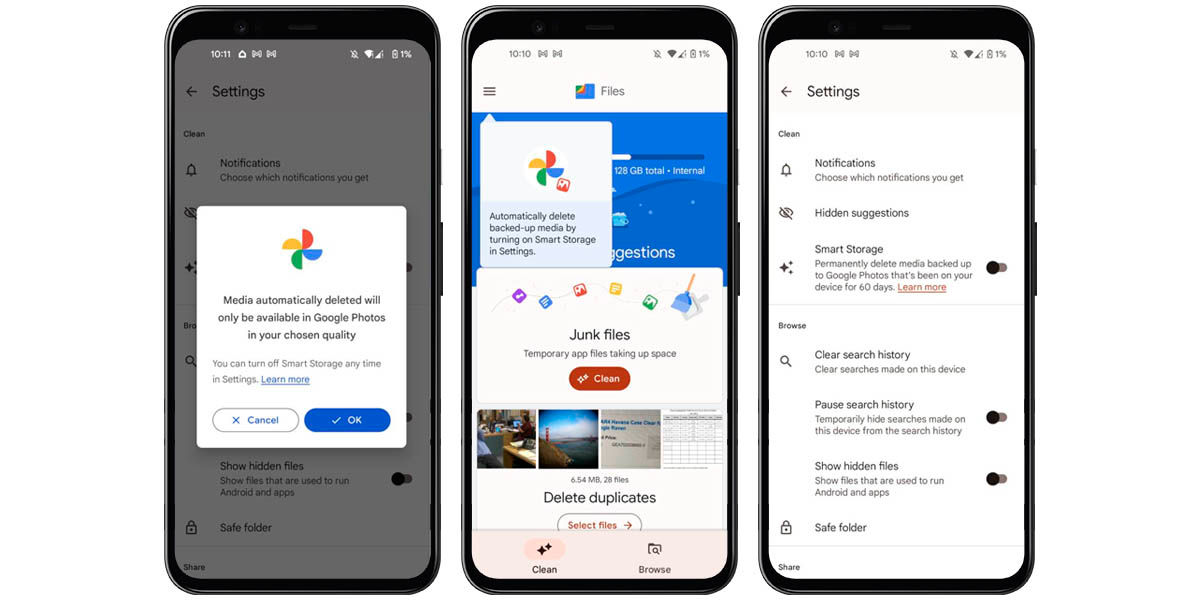 activar almancenamiento inteligente google files ahorrar espacio