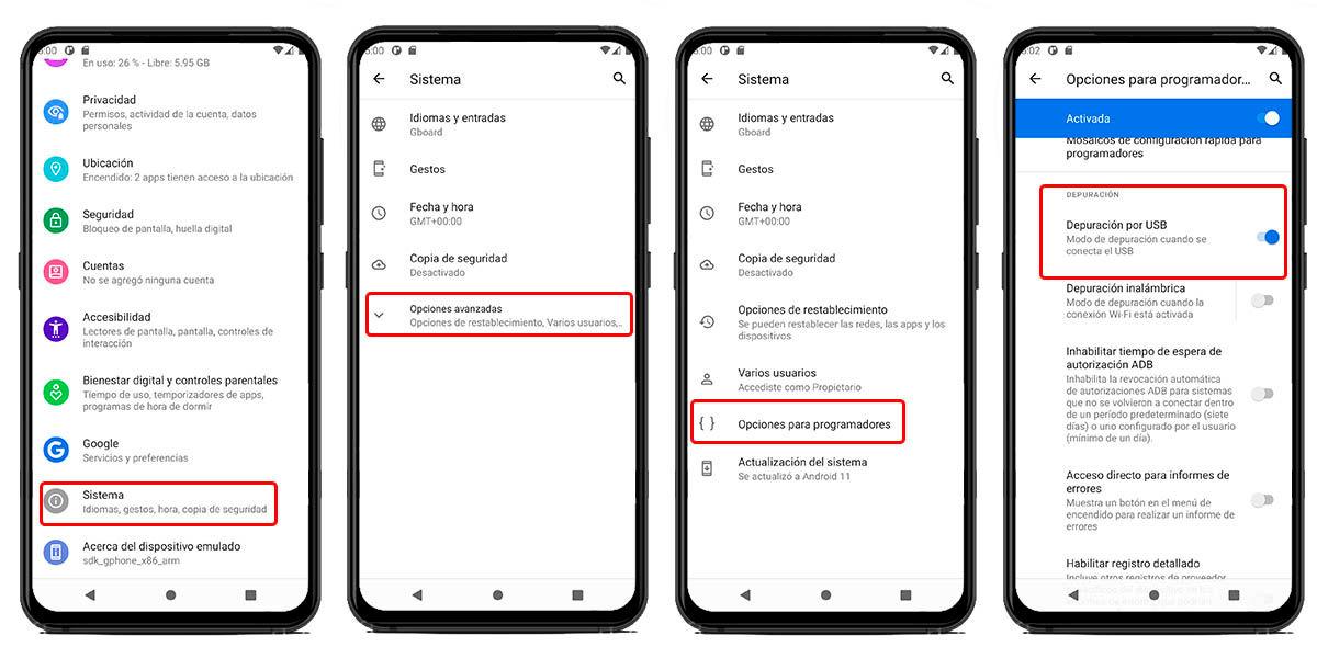 activar depuración USB móvil android