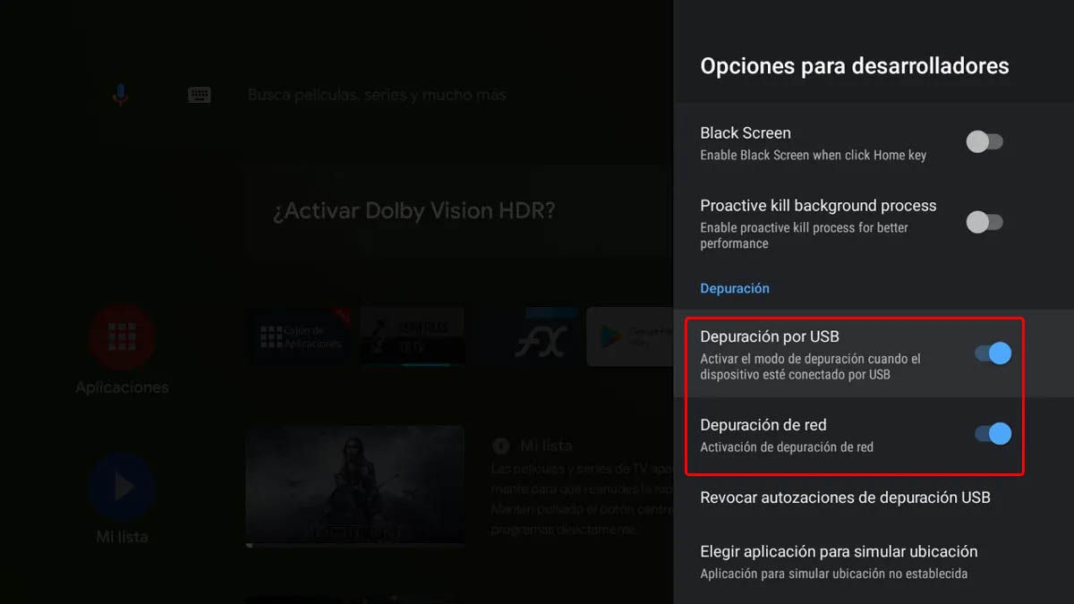 activar depuración de red android tv