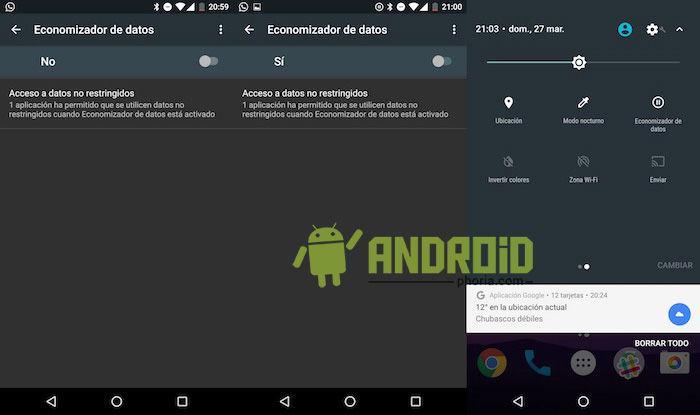activar economizador datos android n