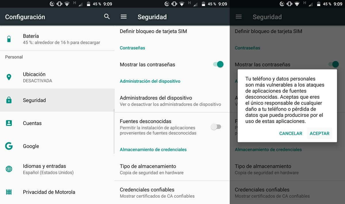 activar fuentes desconocidas en android 7 nougat