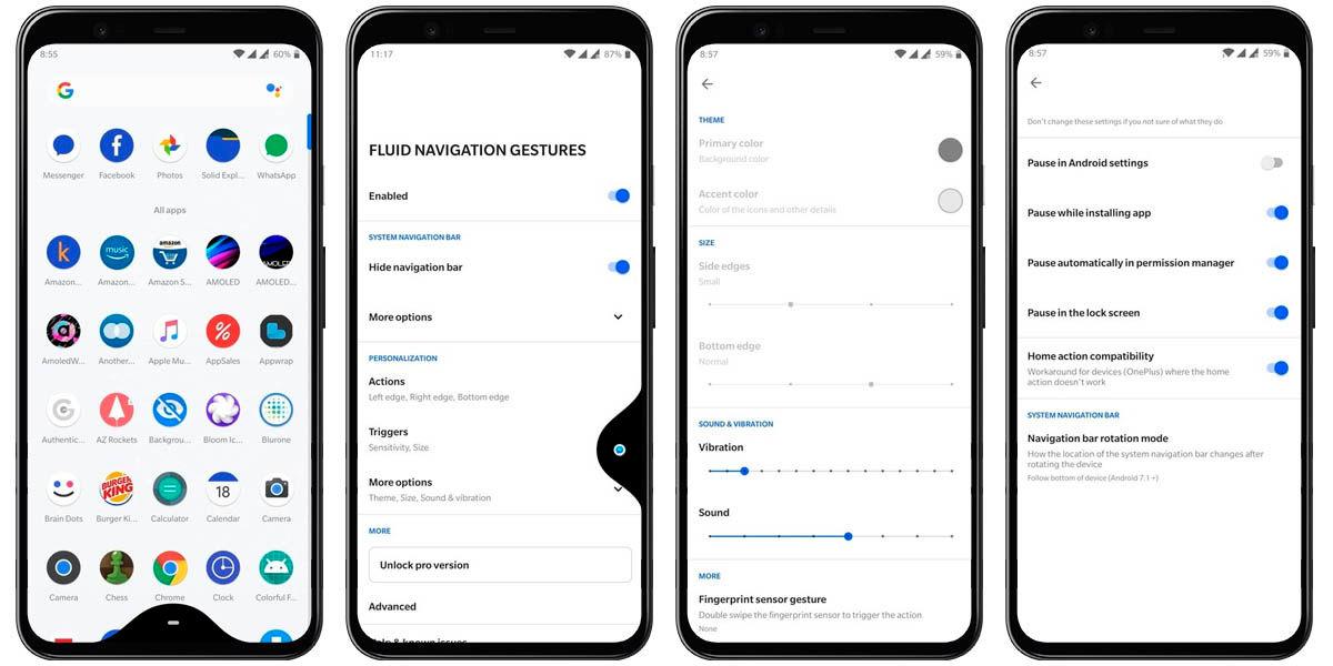 activar gestos navegación fluida android