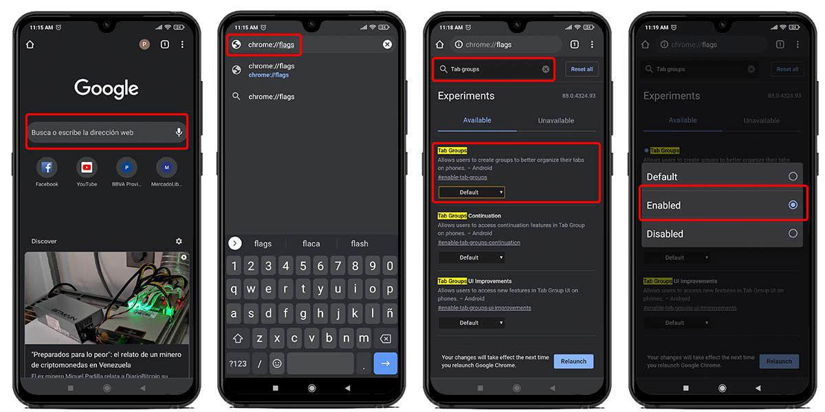 activar grupos de pestañas google chrome android