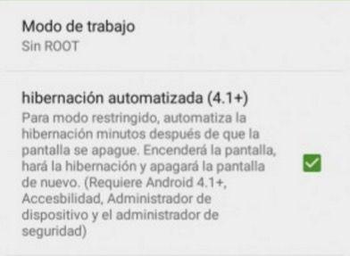 activar hibernacion automatizada greenify