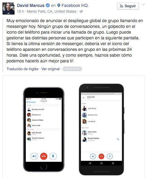 activar llamadas grupo messenger