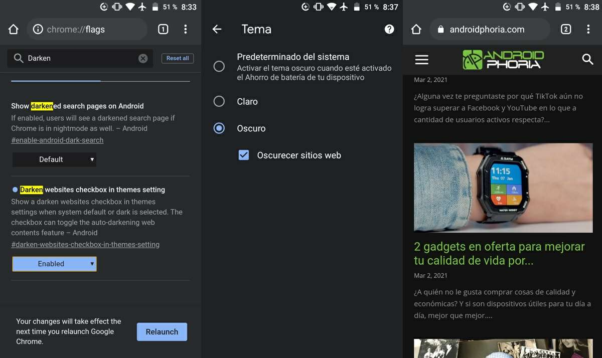 activar modo oscuro para paginas web chrome android
