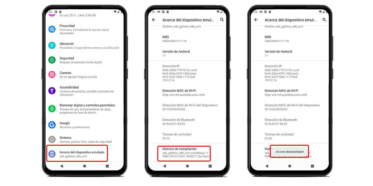 activar opciones de desarrollador smartphone android