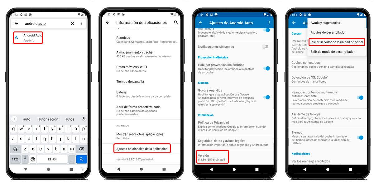 activar opciones de desarrollo android auto