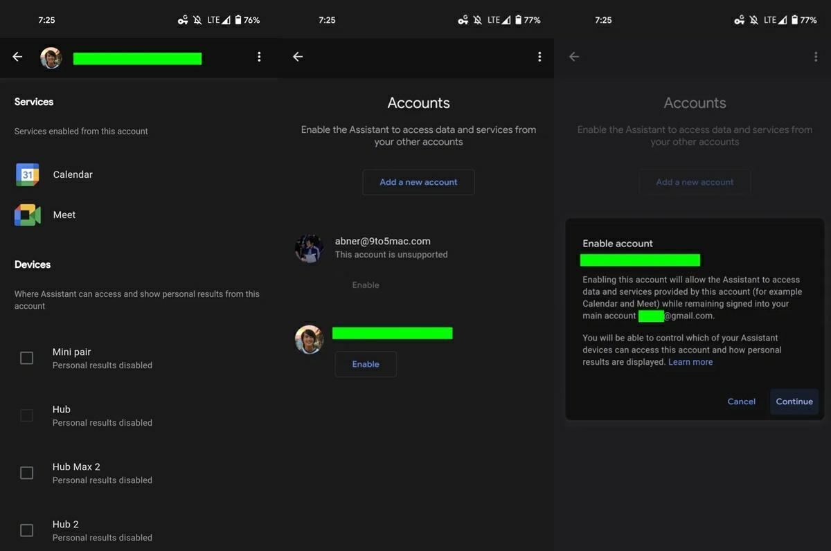 activar soporte de multiples cuentas asistente de google