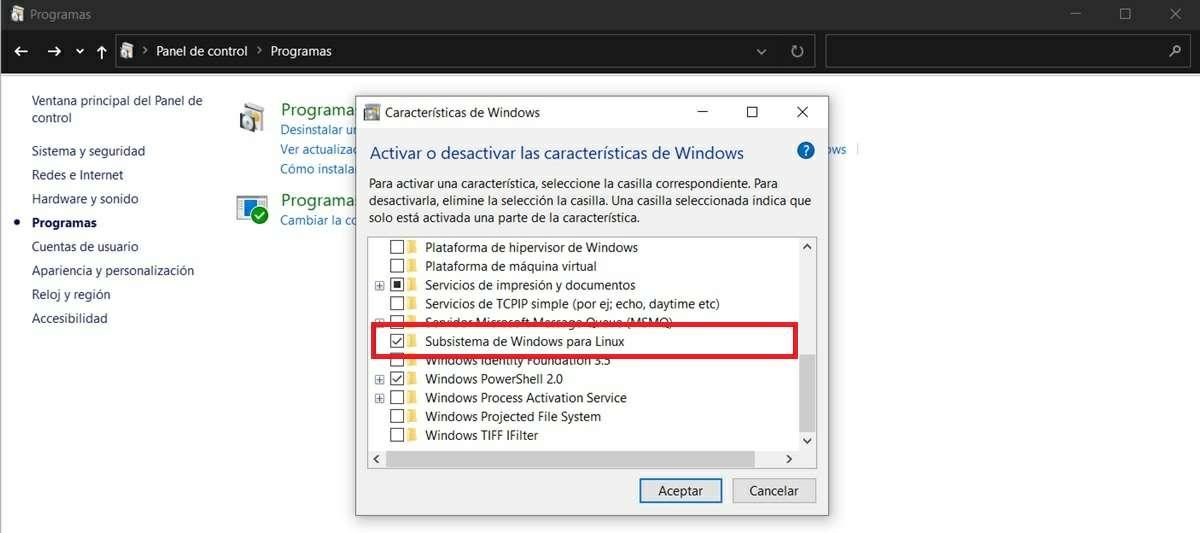activar subsistema de linux en windows 10