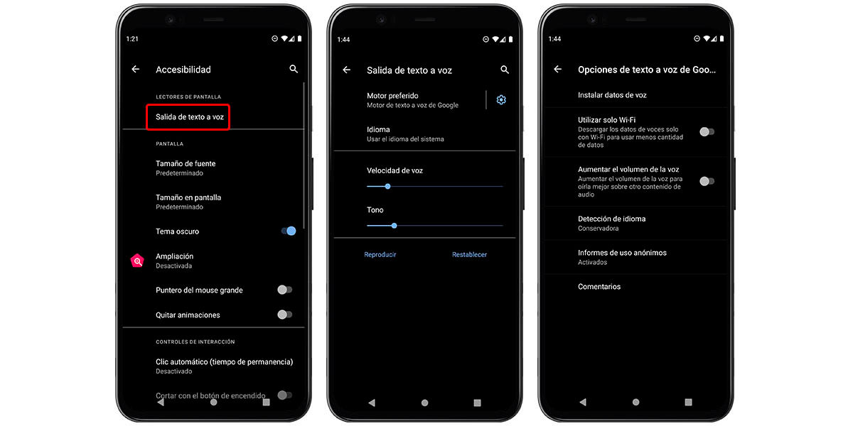 activar talkback android (texto a voz)