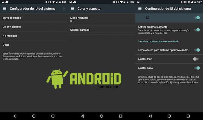 activar tema oscuro android n