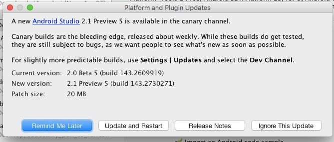 actualizacion android studio 2.1 beta