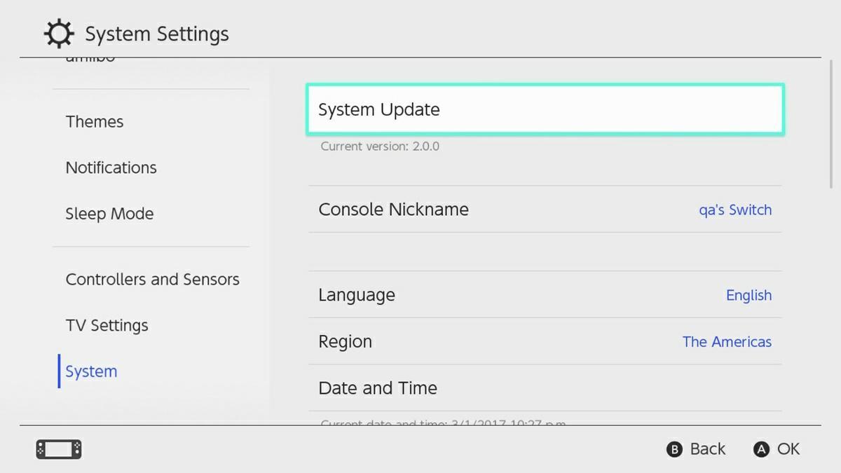 actualizar nintendo switch