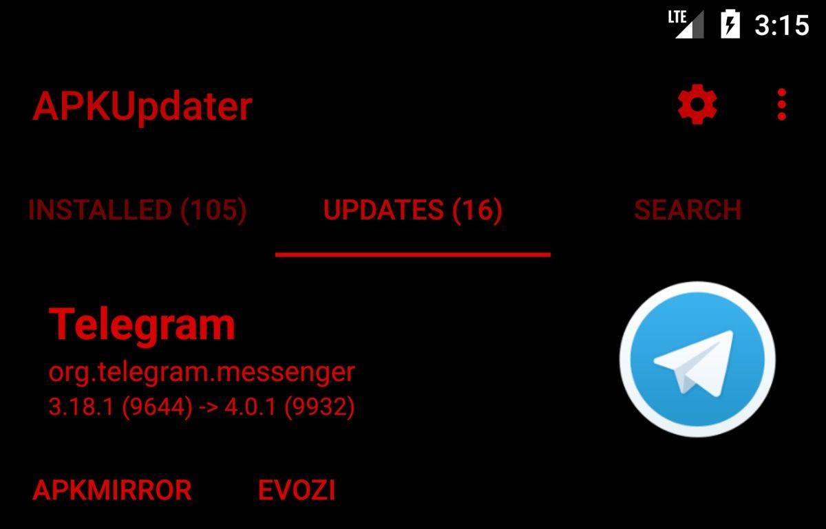 actualizar telegram con apkupdater