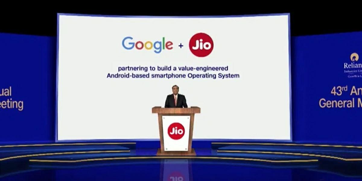 acuerdo comercial entre google y jio para desarrollar un smartphone basico