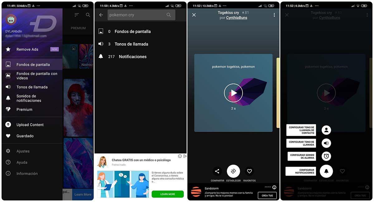 agregar audios personalizados android zedge