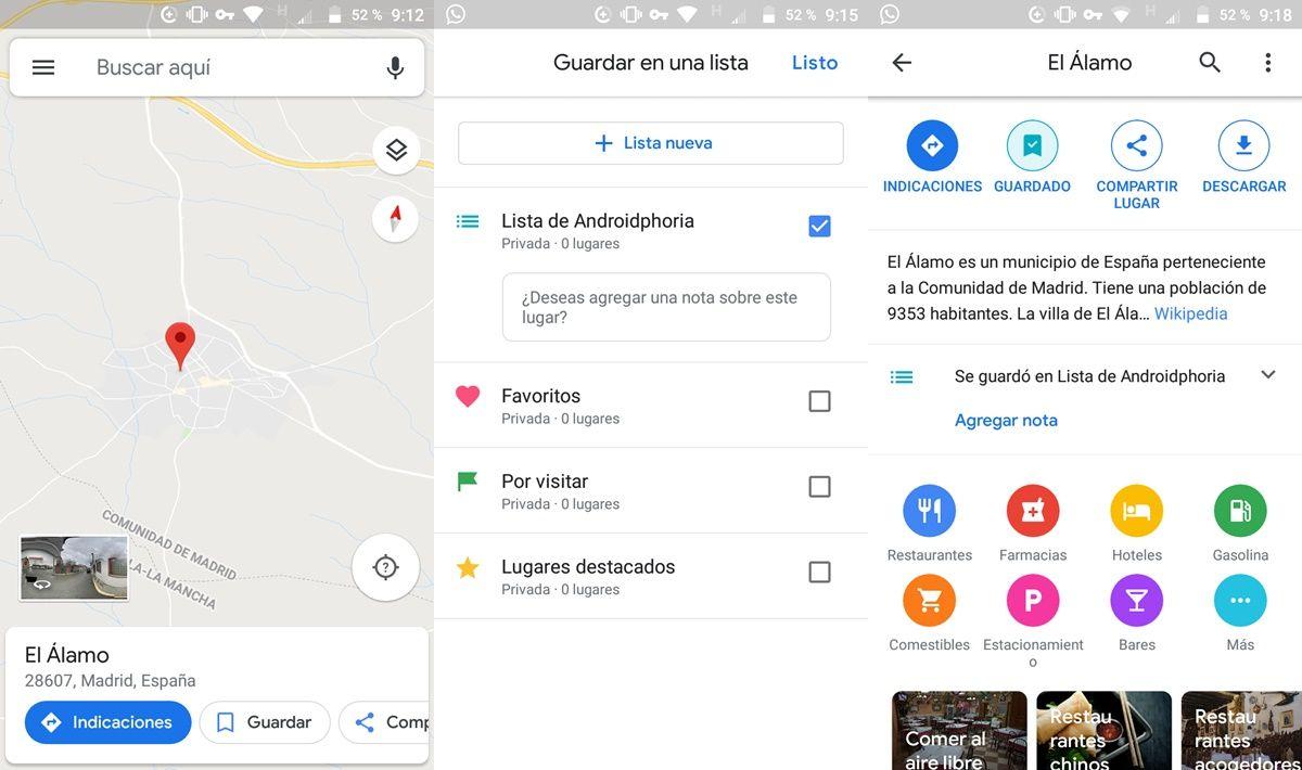 agregar lugares a listas en google maps