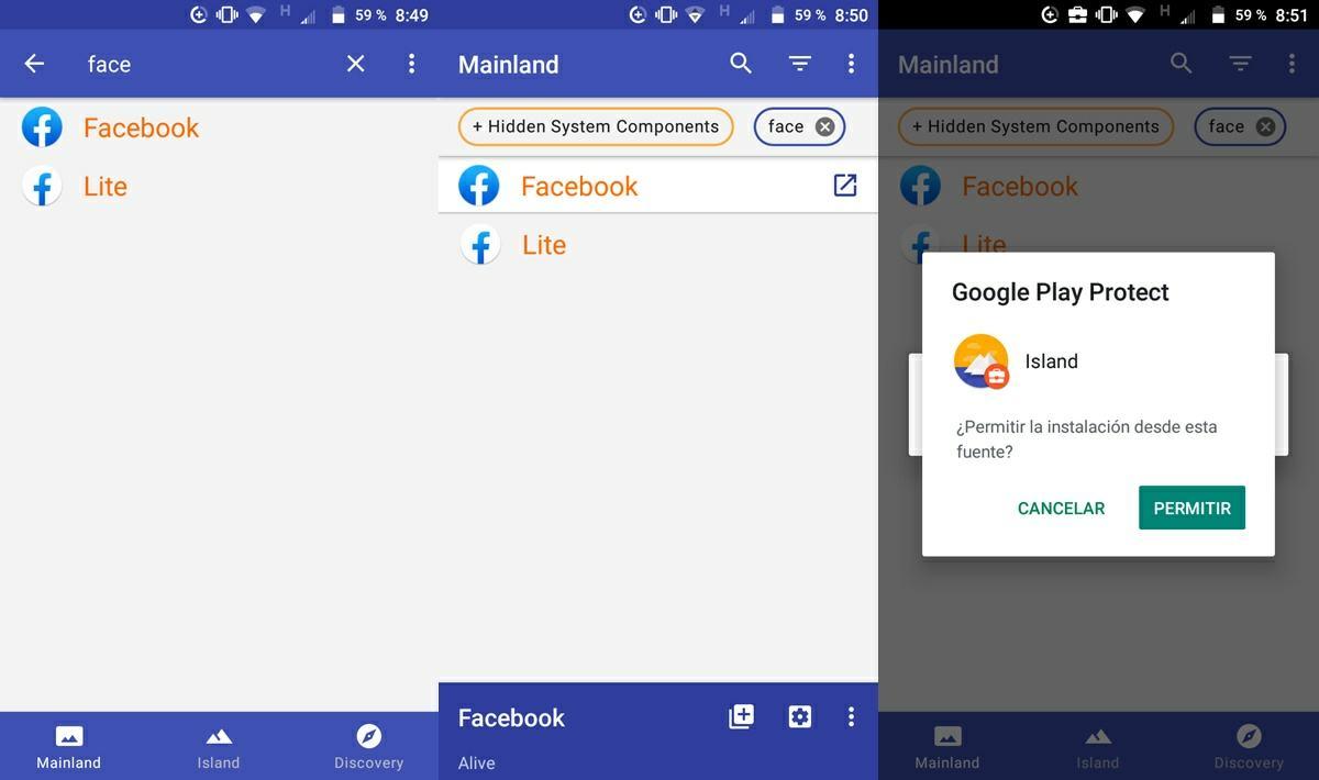 aislar aplicacion de facebook con island