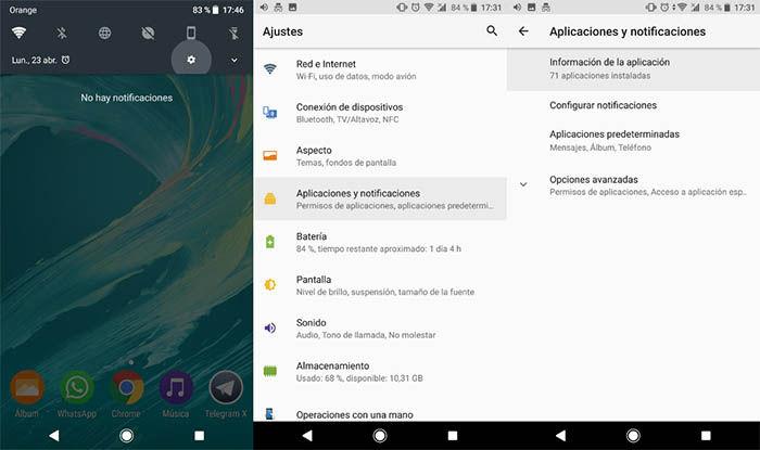 ajustes de aplicaciones y notificaciones
