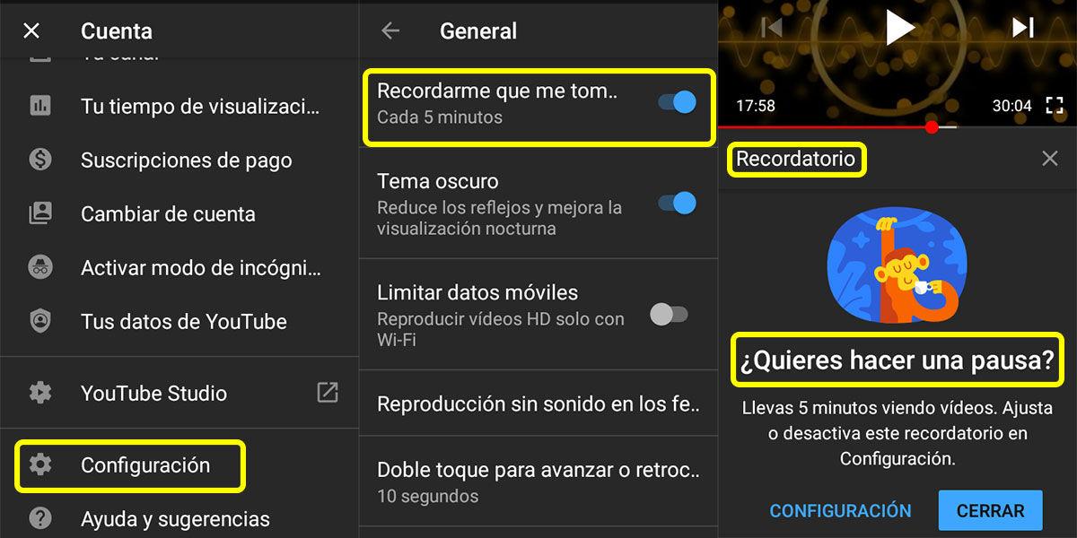 alerta de youtube para tomar un descanso
