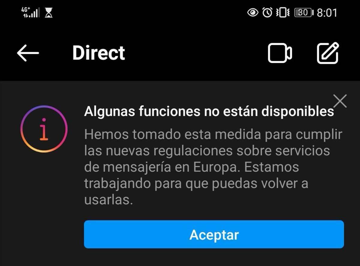 algunas funciones no están disponibles en españa facebook messenger instagram