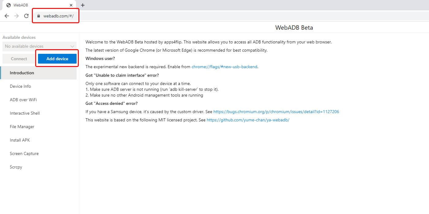 añadir móvil conexión ADB usando webadb