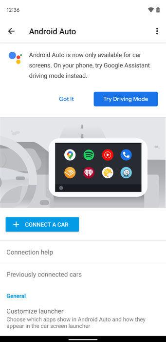 Android Auto aviso Android 12