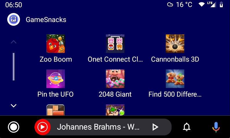 Android Auto lista de juegos GameSnacks