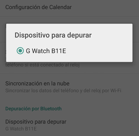 android wear 1.3 dispositivo para depurar