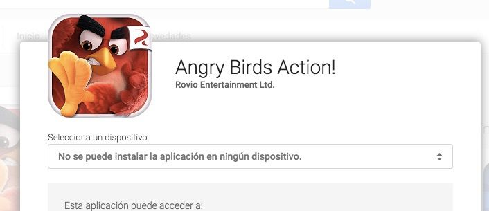 angry birds action problemas