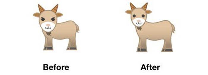 antes e depois do emoji de cabra
